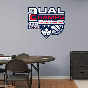 UConn Huskies Dual National Champions Logo Fathead Wall Decal